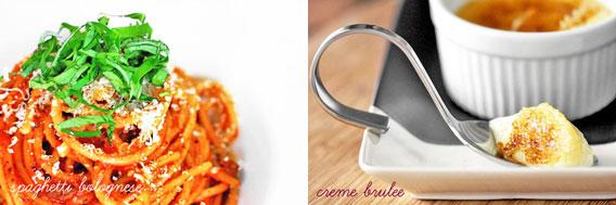 Spaghetti Bolognese & Creme Brulee