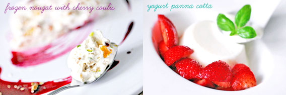 Frozen Nougat & Yogurt Panna Cotta